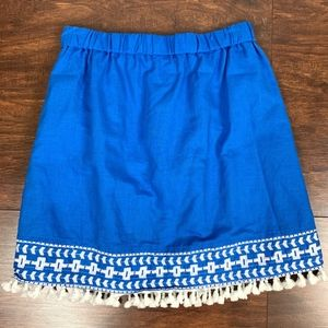 J. Crew Elastic Waist Stitch Tassels Skater Skirt